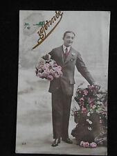 CPA Bonne Année v.1910 Homme au Roses Carte Postale ancienne Old French Postcard