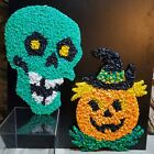 Vintage Melted Plastic Popcorn Green Skull & Pumpkin Halloween Decorations
