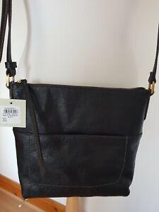Fossil Amelia Black Leather Crossbody Bag BNWT RRP £149.99