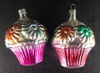 Vintage Christmas Ornaments (2) Cupcakes Mercury Glass Silver Pink Made in USA