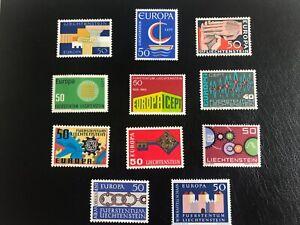 Liechtenstein sellos EUROPA de 1961 al 1970 , 1972  8MNH / 3MH