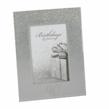 Personalised 40th Birthday Photo Frame Silver Glitter Gift Fg59540-p
