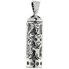 Sterling Silver Tubular Shape Mezuzah Pendant w/ Floral Pattern