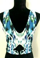 Kookai Women's size 2 Multi-Coloured Sleeveless Cropped Top with Cutout Detail