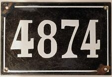 Large old black French house number 4874 door gate wall plate enamel metal sign