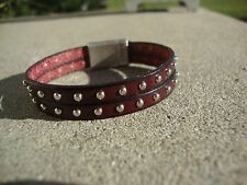 Burgundy Silver Studded Leather Bracelet with Magnetic Antique Silver Clasp Usa
