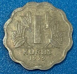 1939 Turkey 1 Kurus Coin