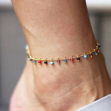 Boho Women Multicolor Beads Crystal Rhinestone Foot Chain Charm Anklet JewelryUS