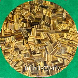 18 Inches Yellow Marble Bed Side Table Top Round Coffee Table Tiger Eye Stones