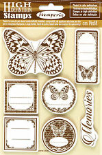 7 Stamperia High Definition Vintage Rubber Stamps Scrapbooking Craft Butterfly