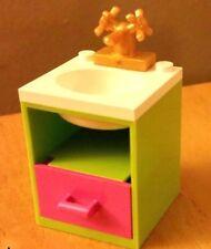 LEGO Custom Furniture BATHROOM SINK Lime White Basin Dk Pink Drawer City Friends