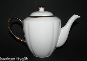 NEW GRACE'S TEAWARE WHITE+24K GOLD METALLIC TEA+COFFEE POT,TEAPOT-6 CUPS