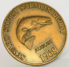 RARE AUGUST 1968 SEWARD SILVER SALMON DERBY ALASKA FISHING GOOD LUCK TOKEN MEDAL