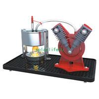 V-Type Mini Hot Live Steam Engine Twin Cylinder Model Education Toy EK-D029 S