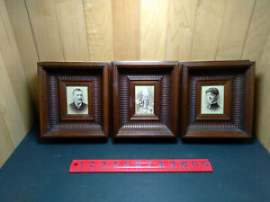 3 Matching Small Deep Walnut Frames w/ Photos of Husband, Wife and Daughter 1870