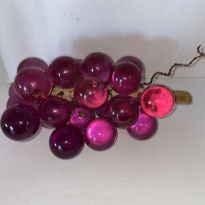 Vintage Driftwood Purple Grape Cluster Lucite Acrylic Grapes MCM 60s