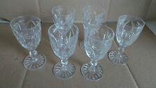 Set Of 6 Cut Glass Crystal Sherry Port Liqueur Glasses Vintage Old Tableware