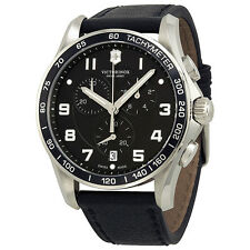 Victorinox Chrono Classic Black Leather Mens Watch 241651-AU