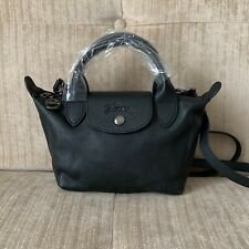 NEW Longchamp BLACK MINI Le Pliage Cuir Lambskin Top Handle Crossbody Bag