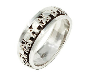 7mm Solid 925 Sterling Silver Ring, Elephant Design Spinning Stress Finger Ring