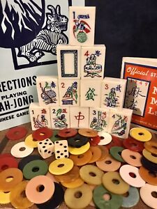 Vintage Culbertson Mahjong Mah Chang Set •Talking Hawk Bam •146 Tiles •5 Racks