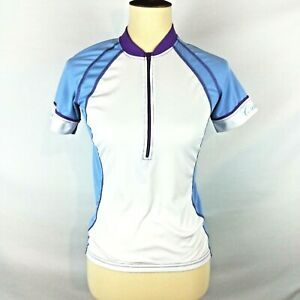 Canari Womens Size Small Half Zip Cycling Jersey White Blue Top Short Sleeves