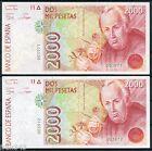 Pareja 2000 pesetas 1992 Sin serie Números Bajos SC / Pair Low numbers