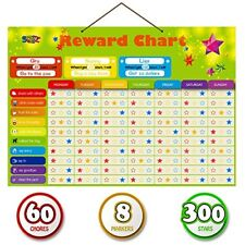 Magnetic Reward Behavior Star Chore Chart for One or Multiple Kids Includes 8...