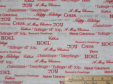 Winter's Grandeur 5 Red Ornament Words Christmas Fabric by 1/2 Yard  #16586-277