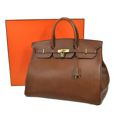 100% AUTHENTIC HERMES BIRKIN 40 HAND BAG BROWN GOLD FJORD VINTAGE FRANCE JT02845