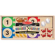 Melissa & Doug Self-Correcting Number Puzzles 1-20 with 40 Wooden Pieces New