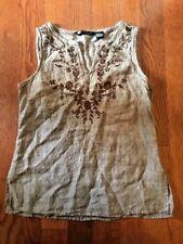 Carole Little Women's Tunic Shirt Blouse Sleeveless V-Neck Brown Size Small S
