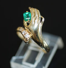 Vintage Unique Handpicked 0.20ct Colombian Emerald & Diamond Ring 14k