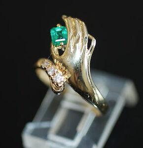 "Unique Vintage ""Handpicked"" 0.20ct Colombian Emerald & Diamond Ring 14k SZ5.5"