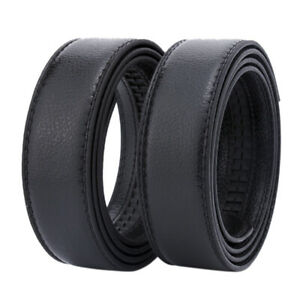 Men's Leather Belt Headless Double-sided Lychee strip Automatic Buckle Waistb CI