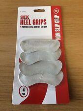 NEW - SUEDE HEEL GRIPS X 4 (2 PAIR) SHOE BACK INSOLE PAD LINER FOOT FEET COMFORT
