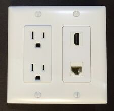 HDTV Wall Plate White Decora 15A Receptacle 1x HDMI 1x Cat6/Cat5e F/F Ethernet