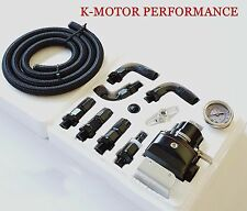 K-MOTOR UNIVERSAL ADJUSTABLE FUEL PRESSURE REGULATOR KIT + GAUGE AN 6 FITTINGS
