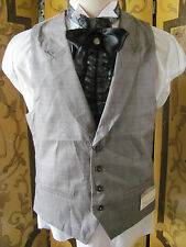 Classic Style Steampunk Old West Light Brown Plaid Vest With Lapels SzS (38)