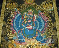 Adi-Buddha THANGKA Sadhita Heruka MASTERPIECE in Brokat EXTREM VIEL GOLD!