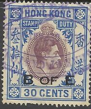 Hong Kong KGVI 30c B of E REVENUE, FIRST COLOURS, Used, BAREFOOT #165E