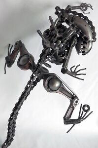 "Alien 16"" Welded Steel Wall Sculpture *One-of-a-kind* Handmade Art H.R. Giger"