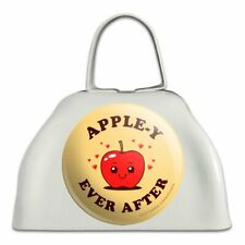 Apple-y Happily Ever After Funny Humor White Metal Cowbell Cow Bell Instrument