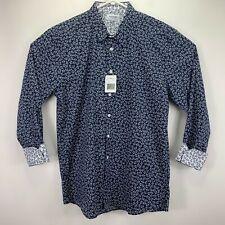 Duchamp Mens Ivy Pattern Poplin Sport Shirt Blue White L