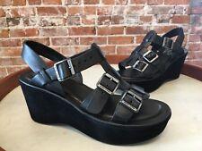 Kork Ease Madalena Black Leather Gladiator Wedge Sandals 9 40 NEW
