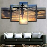 Jesus Christ Cross Christian 5 Pieces canvas Wall Art Print Picture Home Decor