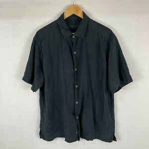 Tommy Bahama Mens Silk Button Up Shirt Large Black Short Sleeve Collared