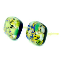 Murano Glass Stud Earrings Green Gold White Blue Handmade Venice