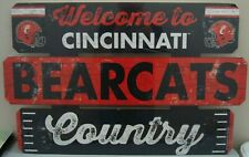 "CINCINNATI BEARCATS WELCOME TO BEARCATS COUNTRY WOOD SIGN 19""X30'' NEW WINCRAFT"