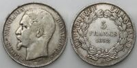 FRANCIA 1852 A NAPOLEON III 5 FRANCS MONEDA PLATA  MBC